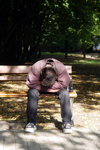 Sleeping man in the park 1