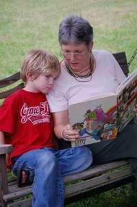 Grandma reading - front far