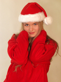 Girl in Christmas cap #4