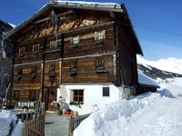 old mountain hut in winter