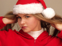 Girl in Christmas cap #3