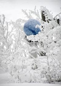 Blue Gazingball in the Snow