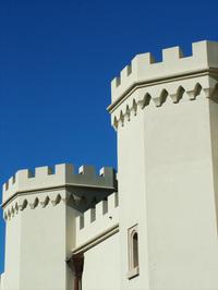 White castle on blue sky