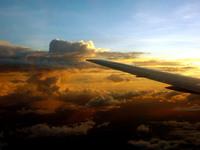 Sunset on flight