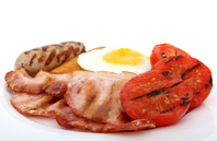 Food, fried bacon & egg restaurant breakfast