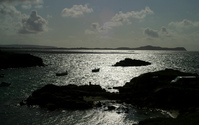 Silver sea at sunset