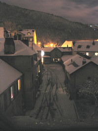 City at night under snow