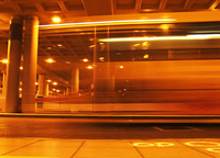 bus moving past