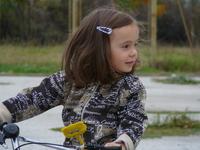 Joanna riding a bike