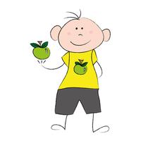 Zdravý chlapec žije zdravo - malý chlapec so zeleným jablkom v ruke a na žltom tričku
