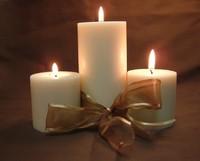Christmas Candles, Gold Ribbon