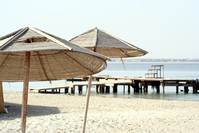 sun umbrella by beach