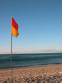 Flag on beach