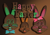 Chocolate Easter bunny family