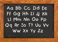 Alphabet on the old style blackboard