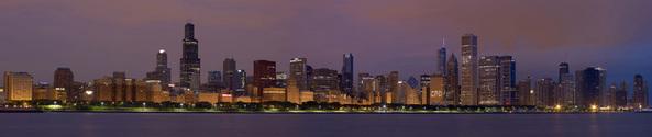 Chicago night panorama 2012