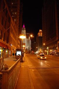 Chicago, Michigan Av at night
