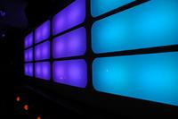 blue lit wall