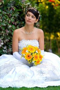 Beautiful bride at a beautiful garden
