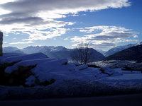 Mountain's blue snow