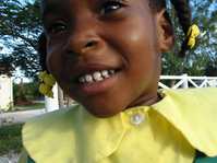 school girl, north caicos airp