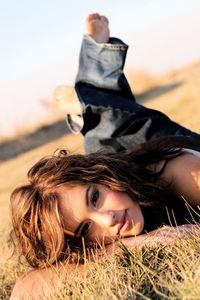 Beautiful girl in a field 4