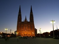 La Plata Cathedral in Argentina at Night