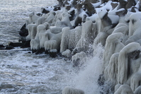Black Sea waves and frozen in winter 2