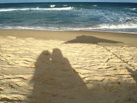 Beach couple shadow