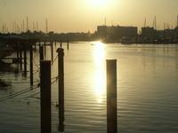 Sundown on a small sea port