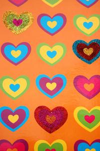 Old paper - orange hearts