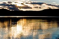 Golden sunset over the lake