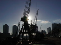 port, city and crane