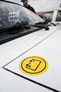 Rally car battery sticker