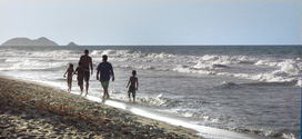 family in beach, margarita island