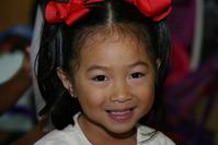 red ribbons preschool girl