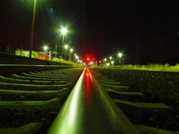 station in the night