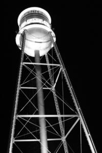 Watertower at night- B&W