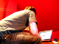 working in red room