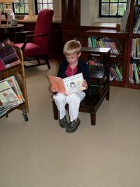 Boy visits library