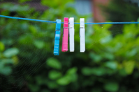 Colourful Pegs on Clothesline