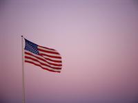 US Flag at sunset