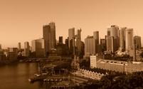 sydney skyline, circular quay, sepia