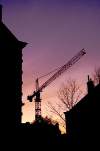 Crane and sunset