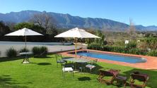 Outdoor pool entertainment area
