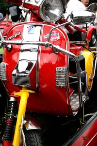 red vespa red bike in berlin