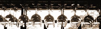 row of hanging wine glasses 3