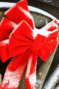 Snow on Christmas Bow