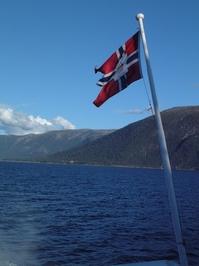 Flag on Sognefjord