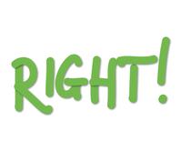 Správne alebo nesprávne? Správne! zelený anglický nápis RIGHT!, ktorý v preklade znamená SPRÁVNE!